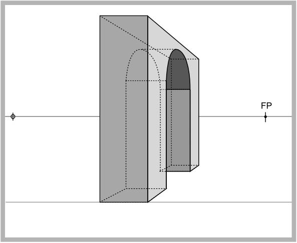 Zeichnung eines Torbogens in der Zentralperspektive