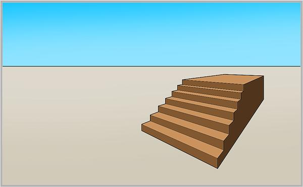 Treppe in einer Übereckperspektive